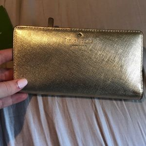 gold kate spade wallet